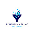 pixel funneling logo icon vector image vector image