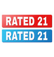 rated 21 text on blue and red rectangle buttons vector image