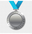 realistic 3d silver trophy champion award medal vector image vector image