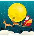 Santa Claus Riding On Sleigh Full Moon vector image