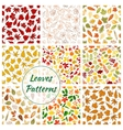 Seamless patterns of trees leaves vector image vector image