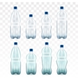 set of blank plastic blue water bottles vector image vector image