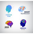 set of creative mind brainstorm smart vector image vector image