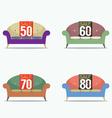Set Of Vintage Sofas On Sale vector image vector image