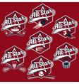 set of vintage sports all star crests vector image vector image