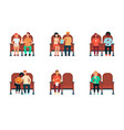 set people and couples sitting in cinema vector image vector image
