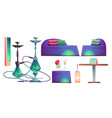 shisha hookah bar set cafe for smoking stuff vector image vector image