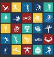 sport disciplines set on color squares flat vector image