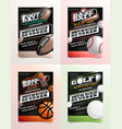 sport flyer ad set football golf baseball vector image