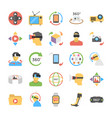 virtual reality and drones flat icons set vector image