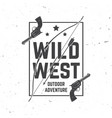 wild wes badge with indian warrior arrow bow and vector image vector image