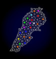 wire frame mesh map of lebanon with glowing vector image