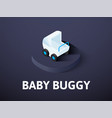 baby buggy isometric icon isolated on color vector image