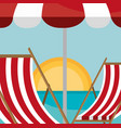 beach landscape with chair and umbrella scene vector image vector image