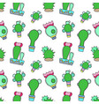 blooming cactus seamless pattern on white vector image