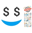 Businessman Smile Icon With 2017 Year Bonus vector image