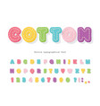 cartoon colorful font for kids cotton texture vector image