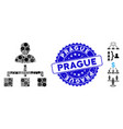 collage user hierarchy icon with grunge prague vector image vector image