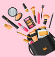 cosmetics for skincare and makeup out of bag vector image vector image