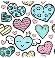 doodle colored hearts seamless pattern vector image vector image