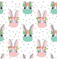 easter coronavirus bunny with face mask seamless vector image vector image