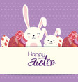 eggs painted and rabbit easter celebration vector image