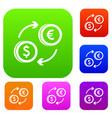 euro dollar euro exchange set collection vector image vector image
