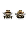 farm logo or label agriculture farming vector image