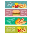 Fast food concept banners in flat style vector image vector image
