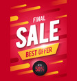 final sale poster or flyer design 3d word sale vector image vector image