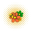 Flowers icon comics style vector image