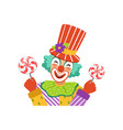 funny circus clown in traditional makeup holding vector image vector image