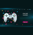 game landing page home and online playing concept vector image vector image