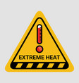 high temperature warning triangle sign extreme hot vector image vector image