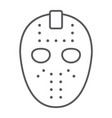 hockey mask thin line icon helmet and mask vector image vector image