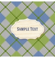 Knitted background with wooden label vector image vector image