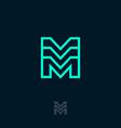 m monogram module emblem building logo vector image