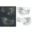 mountain bike close-up drawings vector image
