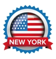 New York and USA flag badge vector image