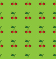 pair of cherries seamless pattern on green vector image vector image
