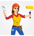 plasterer woman with trowel and paint roller vector image vector image