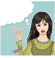 Pretty asian girl at the speech bubble vector image vector image