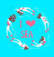 print with beautiful girls swimming sea vector image
