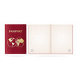 realistic detailed 3d passport blank and cover vector image