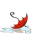 Red umbrella fallen into a puddle vector image vector image