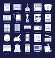 restaurant kitchen equipment silhouette icon set vector image vector image