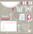 romantic scrapbook design elements set vector image