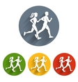 Running silhouettes icon vector image