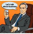 Senior Businessman Drinking Whiskey Pop Art vector image vector image