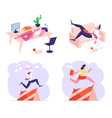 set business characters procrastination vector image vector image